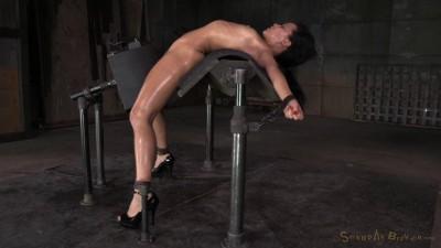 Exotic newbie Mia Austin tightly bound in back arch, sybian orgasms, brutal messy deepthroat!