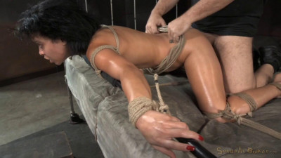 Utter destruction by dick as Mia Austin is tightly tied with drooling deepthroat