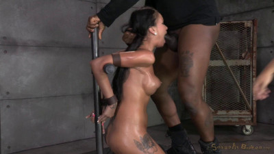 Raven Bay bound on movable sybian, brutal face sex