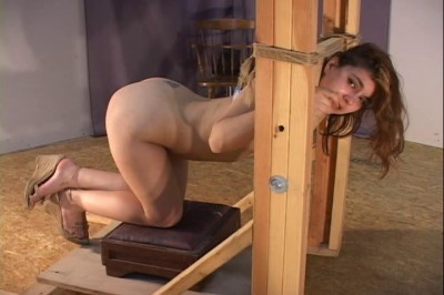 Perfect 18 body on this captive nude slave girl in wooden stocks