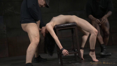 Pale all natural Aria Alexander bound and brutally deepthroated by 10 inch