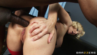 Busty Blonde Milf Gobbles Down His Cock