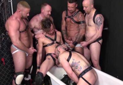 Brutal gangbang with bears & hot boys