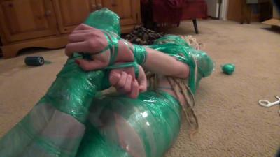 Lew Rubens - Chloe green plastic wrap hogtie