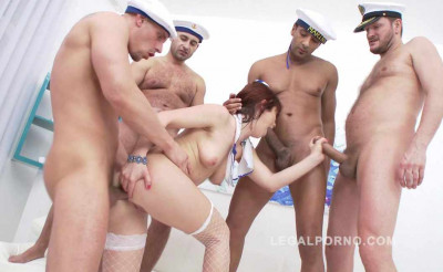 Hardcore sailor gangbang with DP & pee
