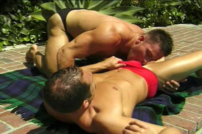 Sun Tanning Jocks In Speedos Screw By Pool