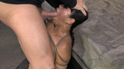 Big titted Asain, is bound, brutally face fucked made to squirt