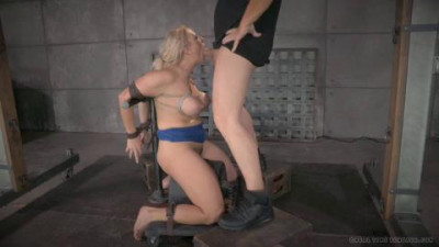 Angel Allwood orgasmblasted on sybian and does brutal inverted deepthroat in straightjacket!