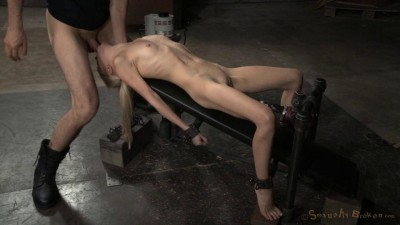 Odette Delacroix shackled to fucking machine and facefucked by hard cock!