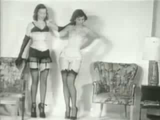 VintageBdsm - Two Slave girls black and white