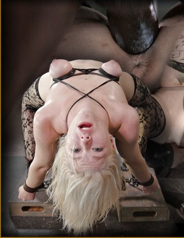 Beautiful blonde bound, dildoed and deepthroated on BBC! Cums hard on two cocks!