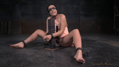 Cute brunette Paisley Parker blindfolded in strict bondage vibrated deepthroating (2015)