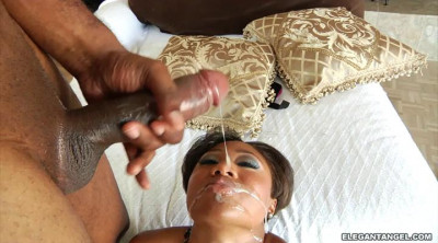 Ebony babe gets all their holes