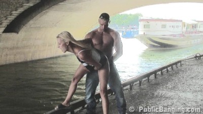 Guy fucks blonde under the bridge by the river
