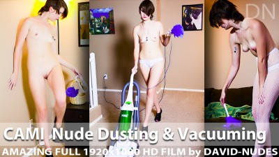 Cami Nude Dusting and Vacuuming