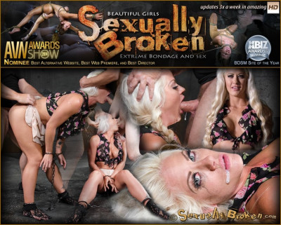 Sexy blonde Holly Heart ragdoll fucked in cuffs with drooling brutal deepthroat on hard cock!