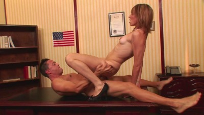 Ava White spreads legs on the table