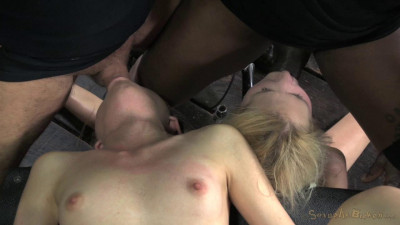 Two blonde pixies Odette Delacroix and Emma Haize tag teamed by cock! Brutal deep throat, squirting!