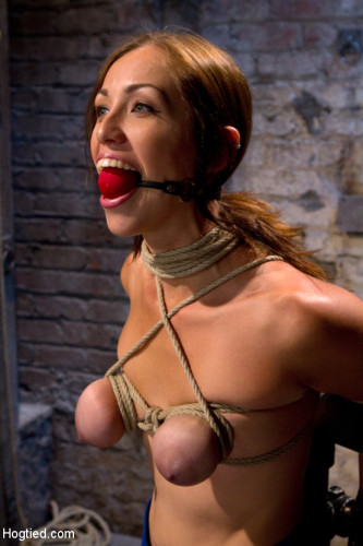 Audrey had her breast bound & huge mouth properly gagged. - Nipples clamped and made to cum, & cum!