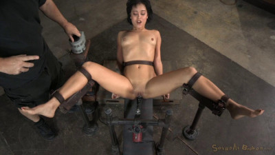 Newbie Mia Austin bound down, belted in place on fucking machine with punishing deepthroat!