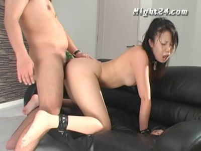 Tied asian and masturbated