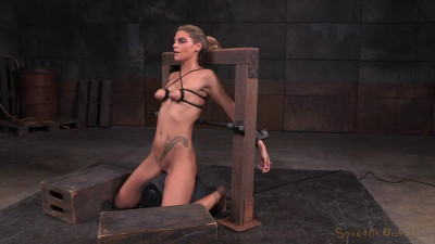 an Stevie Smith shackled to sybian in breast bondage and facefucked by BBC into a drooling mess!