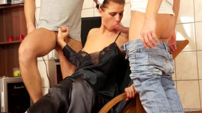 Naughty Brunette Getting Her Blouse Double Splattered In Cum