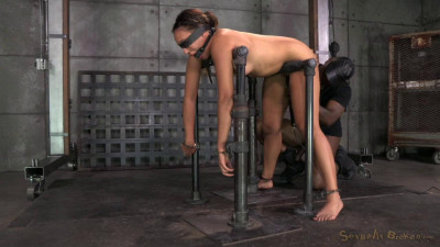 Tiny 4'11 Tinslee Reagan blindfolded, bend over used hard rough from both ends big dick! (2014)