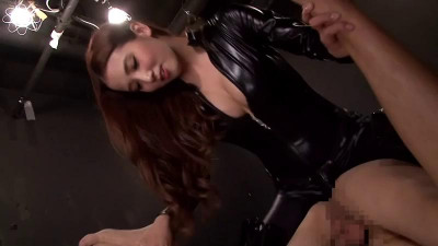 Japanese woman in leather fucks guy on the couch strapom