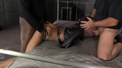 Lean Latina Lyla Storm bed bound in leather straightjacket, rough sex and brutal gagging