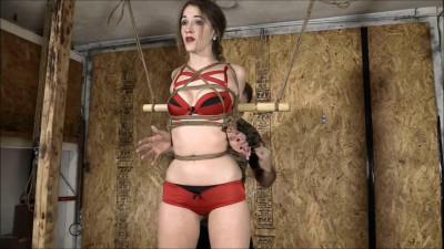 Tight bondage and hogtie for young girl in gasmask