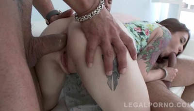 Super slut manhandled & assfucked with monster cocks