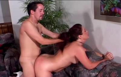 Redhead mature slut rides massive cock