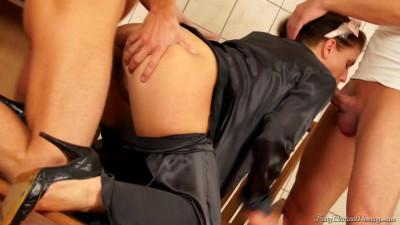 Girl Gets Her Black Blouse Double Splattered In Cum