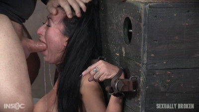 Lily Lane Vibrated and Throat Fucked in Severe Belt Bondage