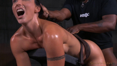 Wenona - Toned tattooed MILF bent over in bondage and used hard from both ends (2015)