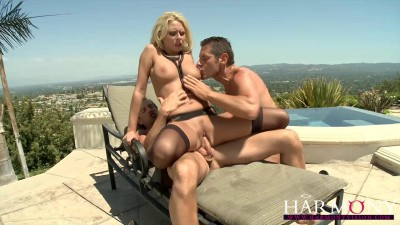 Busty blonde takes on two
