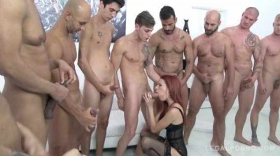 10 men anal gangbang with DP