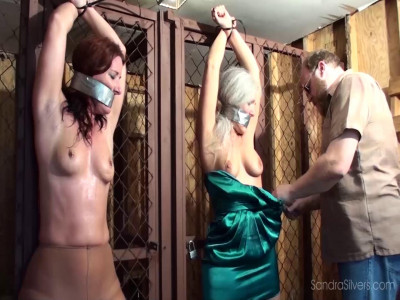 Bondage and water torture for a two naked slave girls