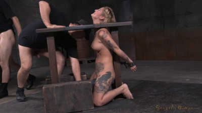 Tattooed blonde Kleio Valentien bound on sybian with drooling destroyed deepthroat! (2015)