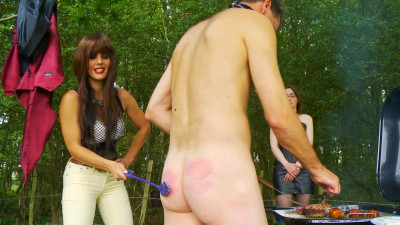 Two mistresses torture the slaves in the woods