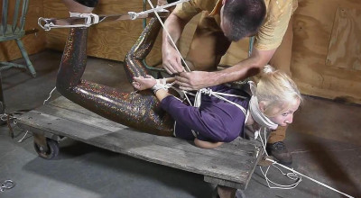Miss Glitter Pants in a Legs Spread Hogtie — Part 2