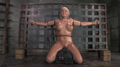 Big titted blonde Leya Falcon ziptied onto,..