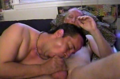 Hairy Studs Suck On Older Man's Cock