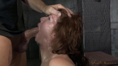 Stunning busty  Veronica Avluv does brutal drooling deepthroat while crucified on a sybain!