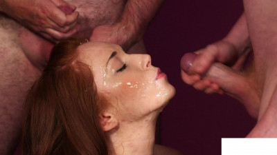 Redhead babe Betty takes sperm liters
