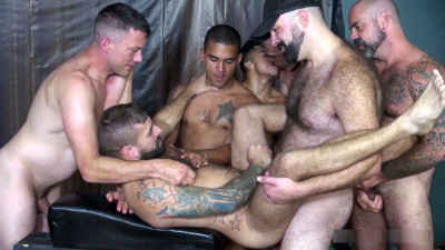 "Seven dudes in the scene ""Hairy Pup Gets Boned"" (720p)"