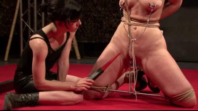 Bondage, torture pussy and nipples for brunette on stage