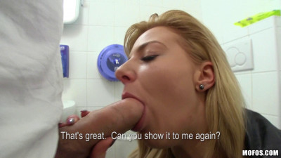 Nice Blonde Girl Showed Off Her Round Ass In The Bathroom