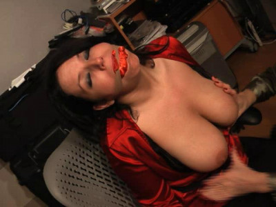 She gets her boobs tied up, panties over her head and pink vetwrap